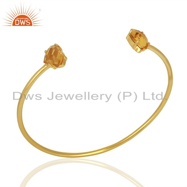 Glass Citrine Gemstone Brass Fashion Cuff Bracelet Jewelry Supplier