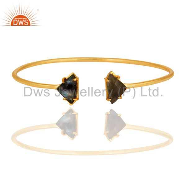 Faceted Labradorite Gemstone Prong Set 14K Yellow Gold Plated Bangle / Bacelet