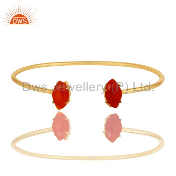 18K Yellow Gold Plated Prong Set Red Onyx Gemstone Adjustable Bangle