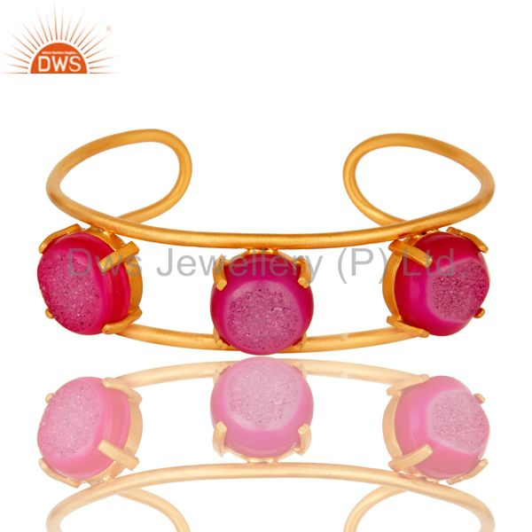 18K Yellow Gold Plated Natural Pink Druzy Agate Designer Cuff Bracelet Jewelry