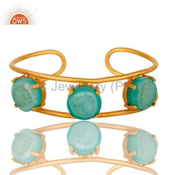18K Yellow Gold Plated Over Brass Green Druzy Agate Cuff Bracelet / Bangle