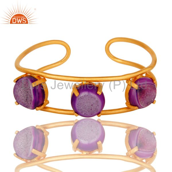 Prong Set Purple Agate Druzy 24K Yellow Gold Plated Cuff Bracelet / Bangle