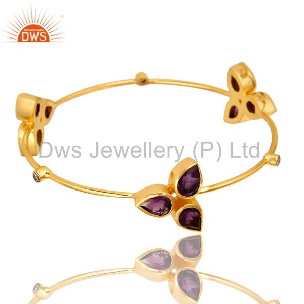 14K Shiny Yellow Gold Plated Brass Sleek Bangle Bracelet With Amethyst And CZ