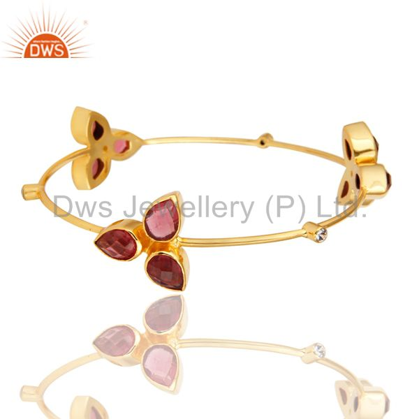 14K Yellow Gold Plated Pink Glass And CZ Stacking Handmade Bangle / Bracelet