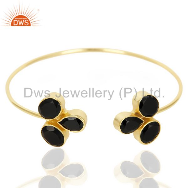 Black Onyx Sleek 14K Yellow Gold Plated Cuff Bangle Bracelet Brass Jewelry