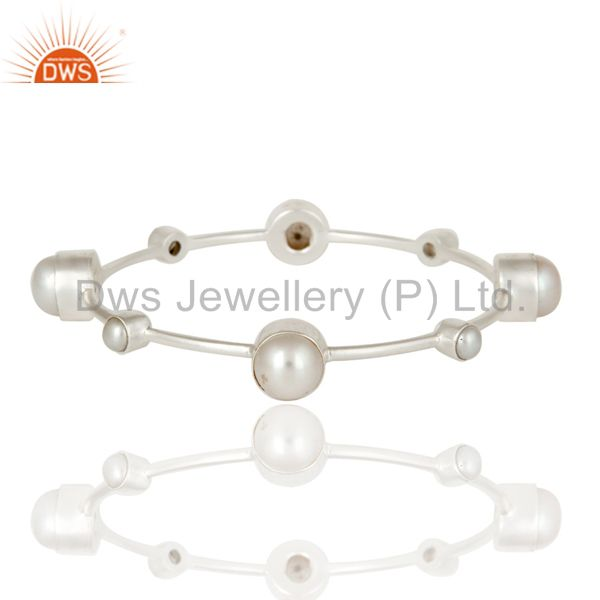 Silver Plated Over Brass and Pearl Sleek Bangle Bracelet