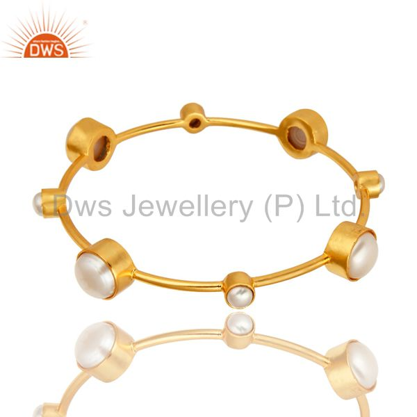 14k yellow gold plated brass natural white pearl handmade bangle
