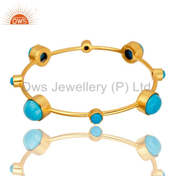14K Yellow Goldplated Brass Natural Turquoise Handmade Stacking Bangle