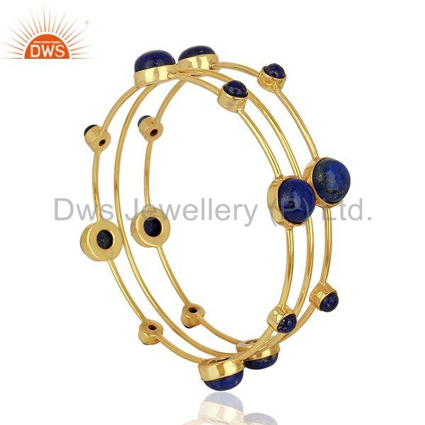 Natural lapis lazuli gemstone gold plated 925 silver bangle set