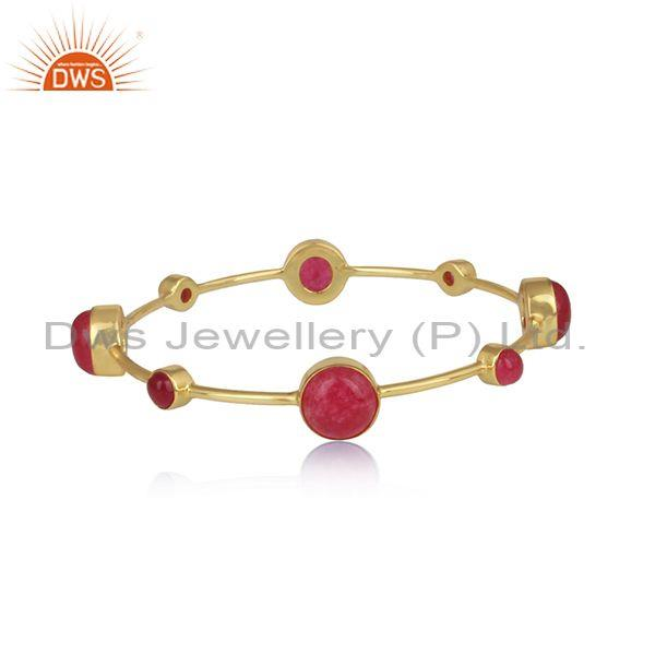 Aventurine Red Quartz Set Gold On 925 Silver Fancy Bangle