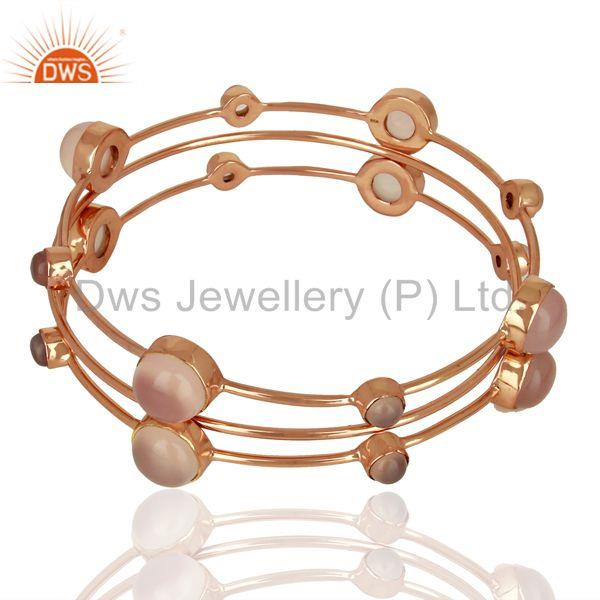 Rose gold on 925 silver rose chalcedony gemstone three bangle set
