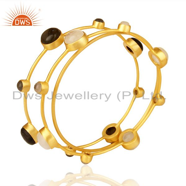 Gold plated 925 sterling silver multi gemstone three bangle set