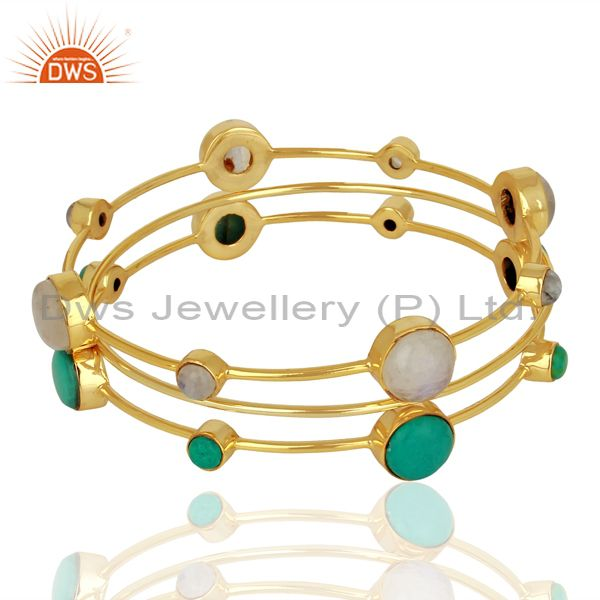 Turquoise and moonstone gold plated 925 silver three bangle set