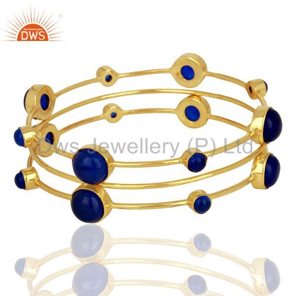 Blue Gemstone 925 Sterling Silver Gold Plated Three Bangle Set Jewelry