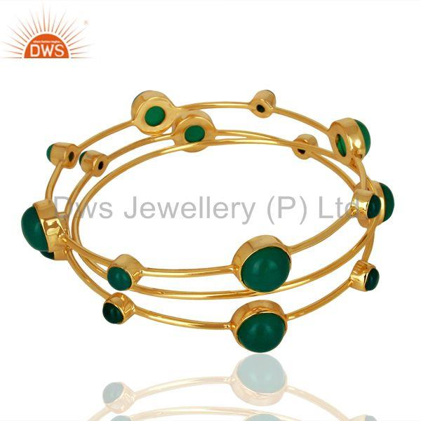 Solid 925 Silver Gold Plated Green Onyx Gemstone Bangle Set Wholesale