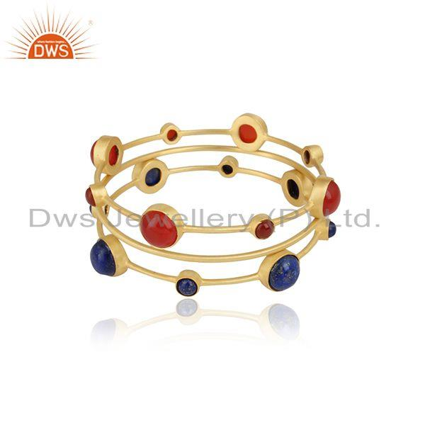 Handmade Rex Onyx and Lapis 3 Bangle Set in Yellow Gold on Silver
