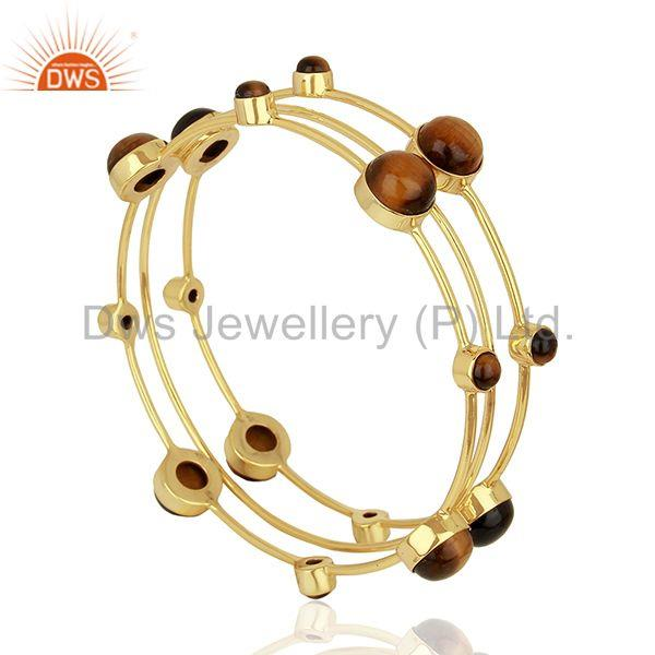 Tiger eye gemstone gold plated 925 silver three bangle set supplier