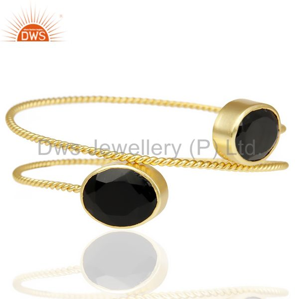 Natural Black Onyx Sleek 14K Gold Plated Cuff Bangle Bracelet Brass Jewelry
