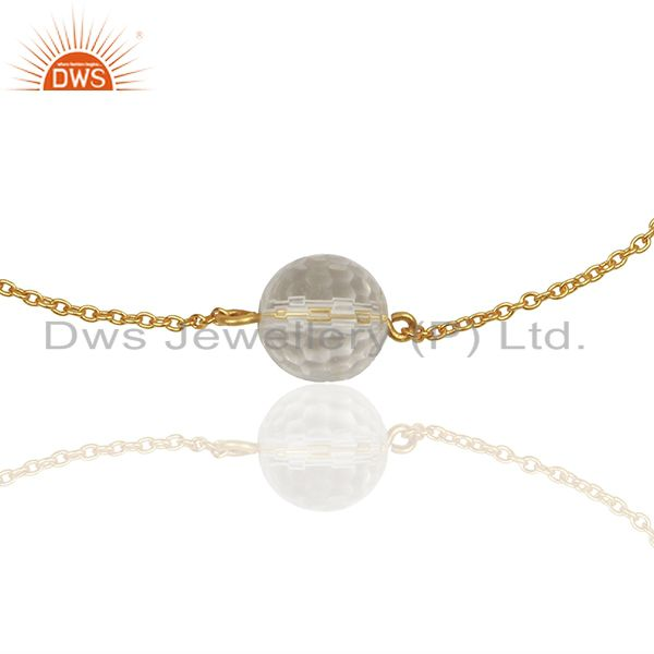 Crystal Quartz Ball Gold Plated Silver Chain Bracelet Manufacturers