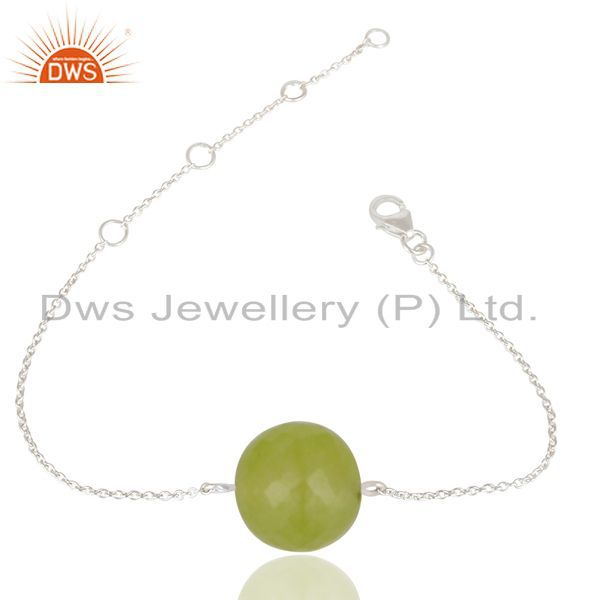 Solid 925 sterling silver traditional handmade dyed chalcedony chain bracelet