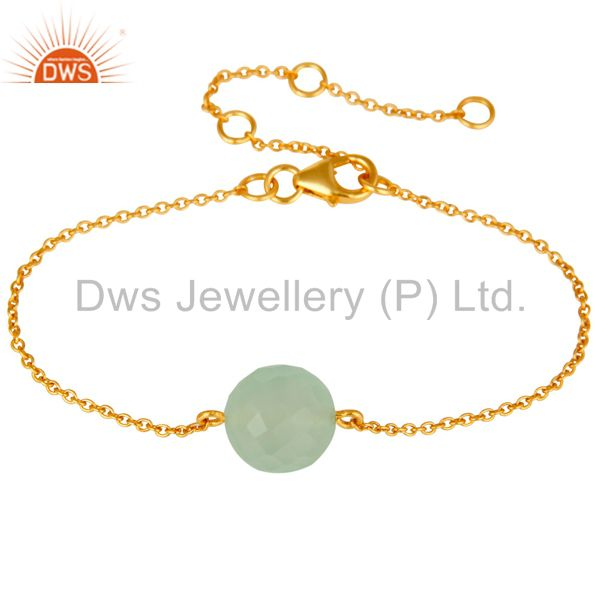 18K Yellow Gold Plated Sterling Silver Prehnite Chalcedony Chain Bracelet