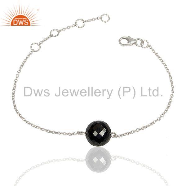 Faceted hametite round gemstone 925 silver bracelet wholesale