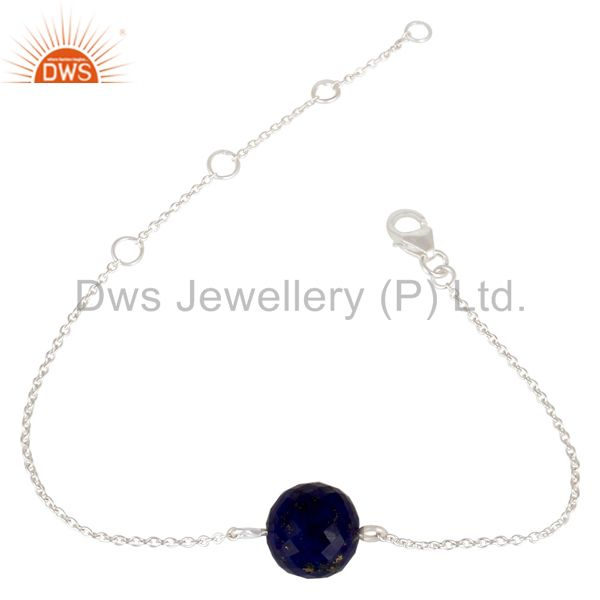 Solid 925 Sterling Silver Traditional Handmade Lapis Ball Chain Bracelet