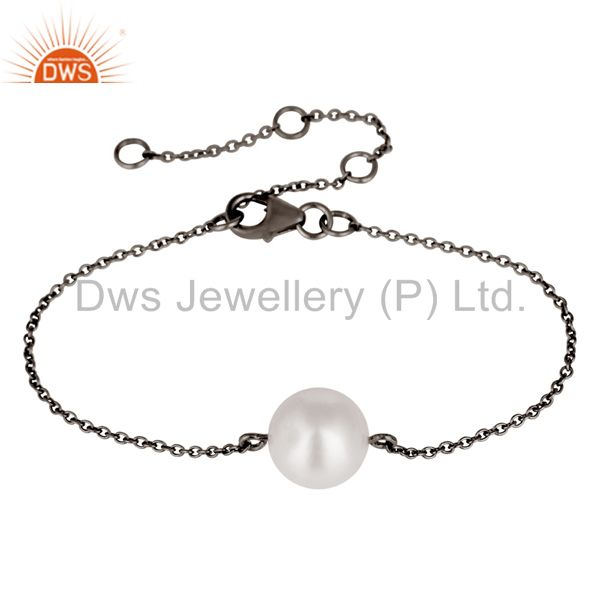 Oxidized Sterling Silver White Pearl June Birthstone Chain Bracelet