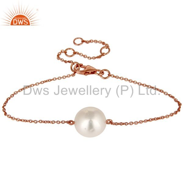 18k rose gold plated sterling silver white pearl cable link chain bracelet