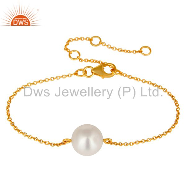 Natual Genuine Pearl Sleek Gold  Plated Sterling silver Chain Bracelet