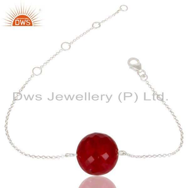 Solid 925 sterling silver traditional handmade natural ruby chain bracelet