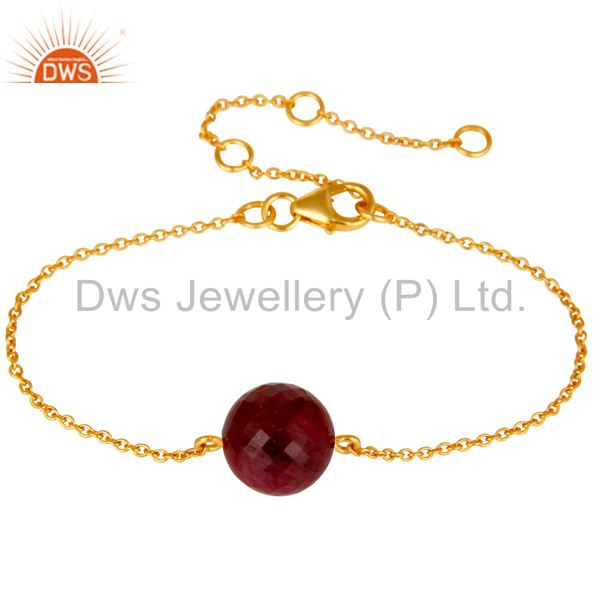 18K Yellow Gold Plated Sterling Silver Natural Ruby Chain Bracelet