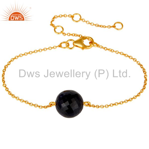 18K Yellow Gold Plated Sterling Silver Natural Sapphire Chain Bracelet