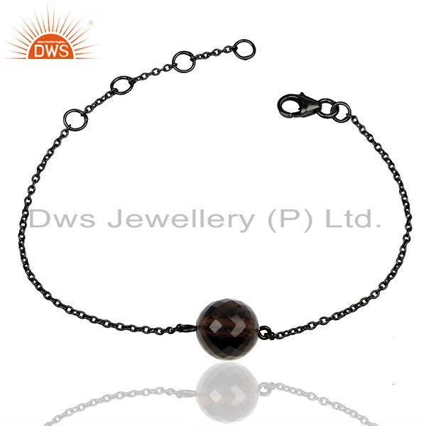 Smoky Quartz Gemstone Black 925 Silver Unisex Chain Bracelet Wholesale