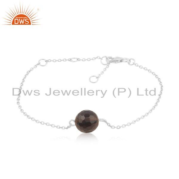 Smoky quartz gemstone designer sterling fine silver chain bracelet jewelry