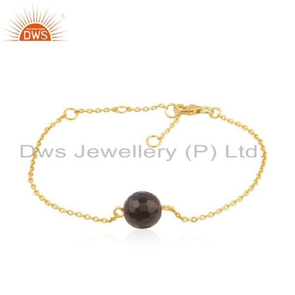 Smoky Quartz Gemstone 14k Gold Plated 925 SIlver Chain Bracelet Jewelry