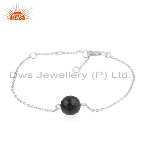 Natural black onyx gemstone 925 sterling fine silver chain bracelet for girls