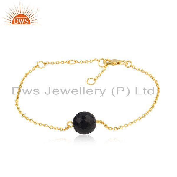 Handmade 18k gold plated 925 silver smoky quartz gemstone bracelet jewelry