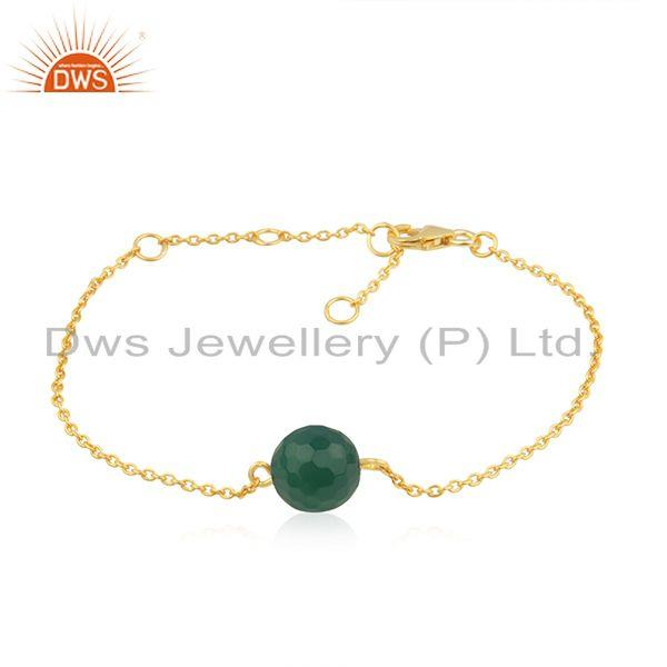 Green onyx gemstone 18k gold plated designer silver chain bracelet jewelry