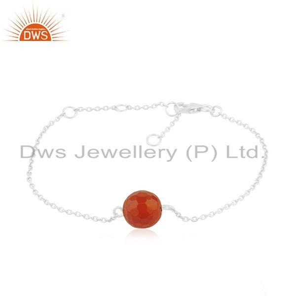 Manufacturer Sterling Silver Red Onyx Gemstone Bracelet Jewelry