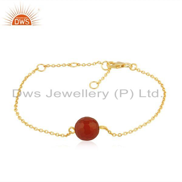 Designer14k gold plated 925 silver red onyx gemstone bracelet jewelry