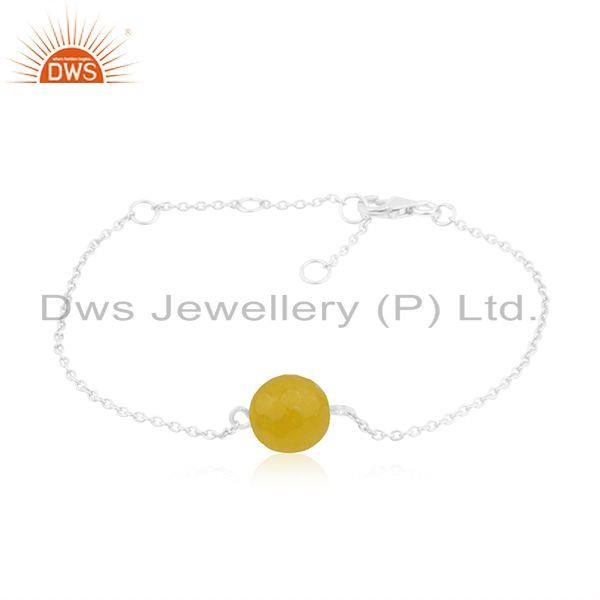 Designer 925 Sterling Fine Silver Yellow Chalcedony Chain Bracelet Jewelry