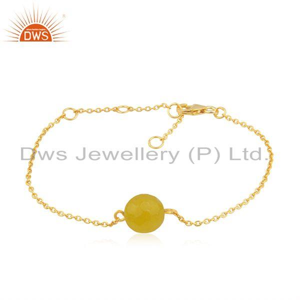 Yellow Chalcedony Bead Gemstone Gold Plated Silver Chain Bracelet Jewelry