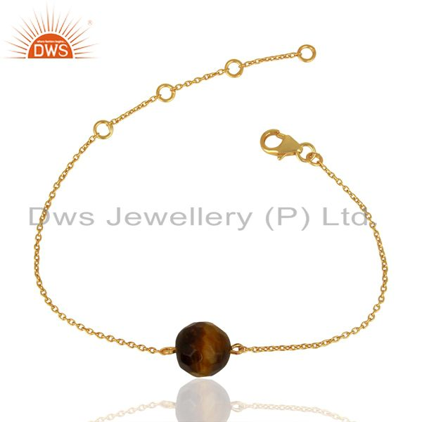 Gold Plated Silver Natural Tiger Eye Gemstone Chain Bracelet Jewelry