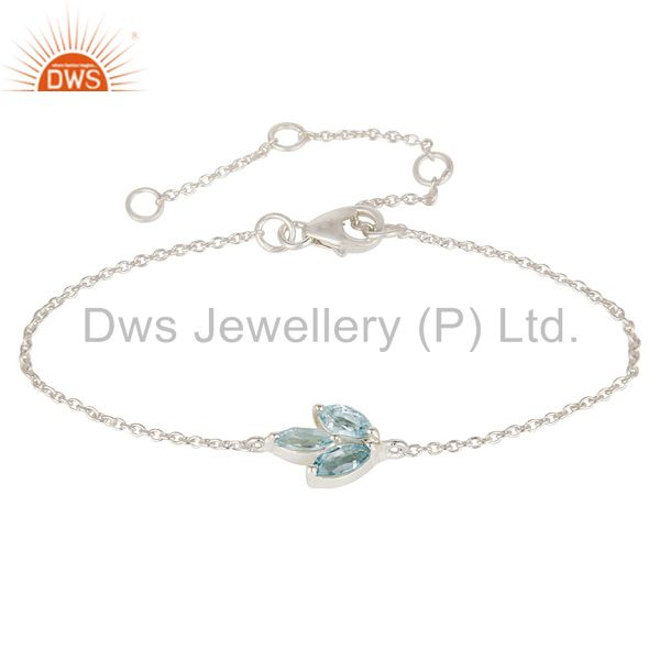 Solid 925 Sterling Silver Blue Topaz Gemstone Cable Link Chain Bracelet