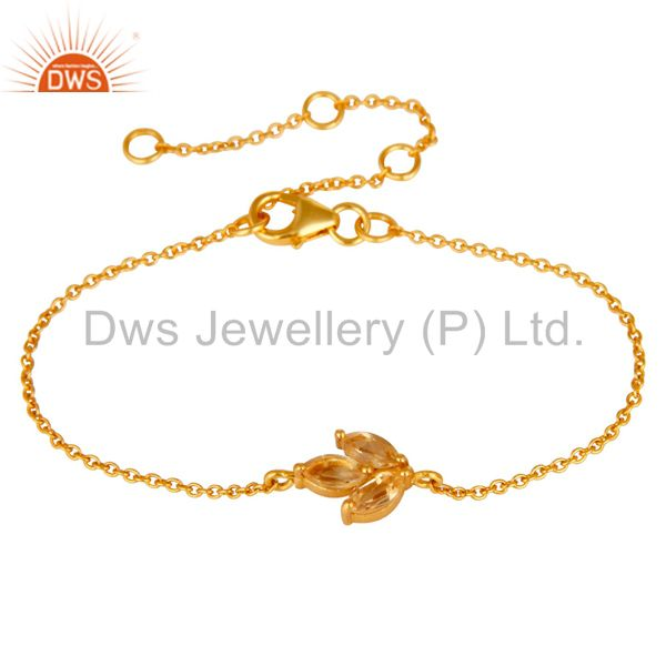 18K Yellow Gold Plated Sterling Silver Citrine Gemstone Chain Bracelet