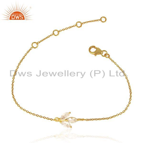 14k Gold Plated 92.5 Sterling Silver Crystal Quartz Bracelet Manufacturer India
