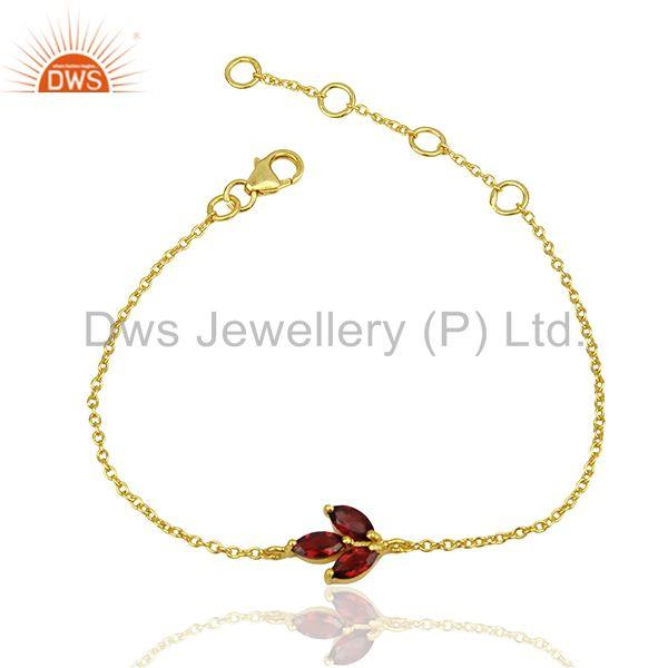 Handmade 925 Silver Gold Plated January Birthstone Garnet Bracelet