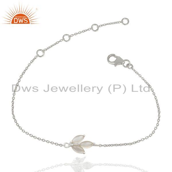 92.5 sterling fine silver crystal quartz stone bracelet for girls jewelry india