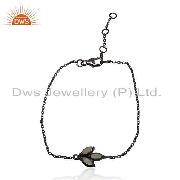 Pyrite Gemstone Black Rhodium Plated Sterling Silver Designer Bracelet for Women